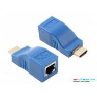HDMI Extender, 30M HDMI Network Extender Transmitter and Receiver Adapter RJ45 CAT5E CAT6 Ethernet LAN 1080P Converter Adapter for HDTV HD TV DVD