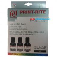 PRINT RITE Black - 3 Refill Kit + Head Cleaner
