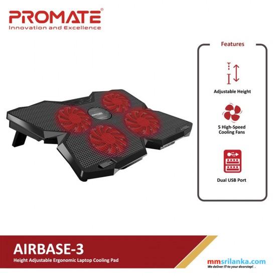 Promate Gaming Laptop Cooling Pad, Ergonomic High-Speed Laptop Cooling Pad with 4 Silent Cooling Fan, Dual USB Port, AirBase-3 Black