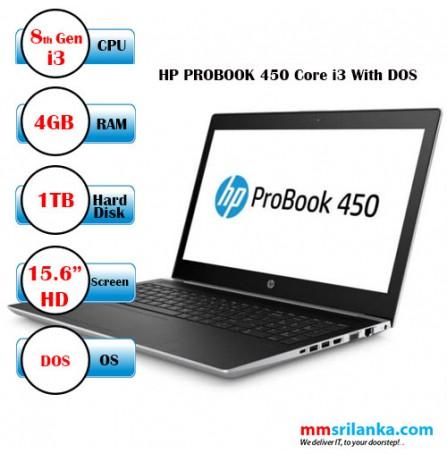 HP ProBook 450 G5 Core i3 Laptop, DOS, 8th Gen. 1TB, 4GB