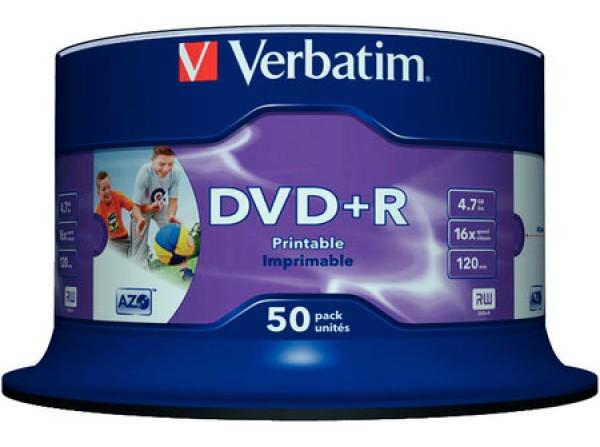 Verbatim DVD+R 16X WHITE INKJET HUB PRINTABLE