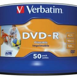 Verbatim DVD-R 16X WHITE INKJET HUB PRINTABLE 50 Bulk