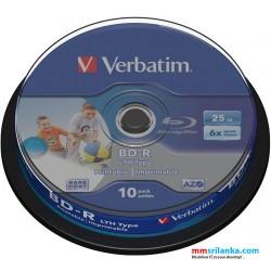Verbatim Blu-ray Recordable White Wide Inkjet Printable 6X Speed 25GB 10Pack Spindle